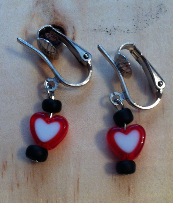 Red Heart Clip on Children's Earrings