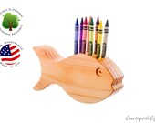 Crayon Holder - Wooden Dinosaur Fish Holder - Handcrafted Natural and Organic Wood Crayon Holder - Wooden Crayon Fish Holder for 8 Crayons
