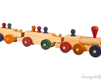 Wooden Toy  Train - Natural and Organic Wooden Passenger Toy Train - Wood Toy Train