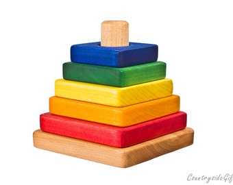 Wood Stacker Toy - Wooden Stacking Toy -Stacker Blocks - Hardwood Colored Square Stacker Toy - for Baby, Toddler, Children, Educational