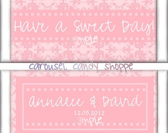 Pink Damask Wedding Candy Wrappers Favors