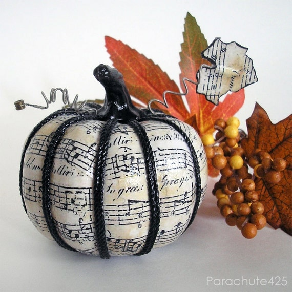 Music Pumpkin 121, 3 inch, decoupage Halloween decor, music decor, shabby chic