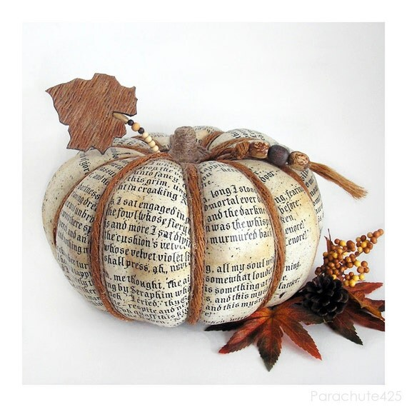 Poe Pumpkin Harvest 121, decoupage pumpkin, Halloween, Fall decor, The Raven, ooak, rust and cream