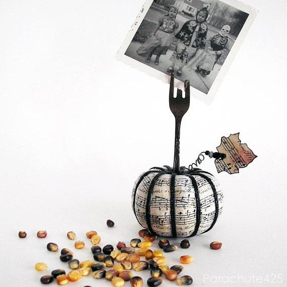 Shabby Chic Music Pumpkin 121, recycled fork photo holder, Halloween, Thanksgiving, decoupage, hostess gift