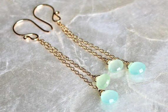 Sterling Silver or 14kt Yellow Gold Fill, Sea Blue and Pale Green Peruvian Chalcedony Chandelier Earrings - Ebb Tide