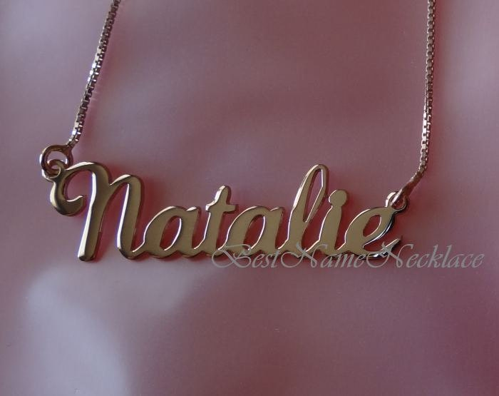 double thick rose gold plated name necklace with your name. Black Bedroom Furniture Sets. Home Design Ideas