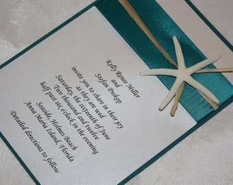 Teal Green Starfish Beach Wedding Invitation