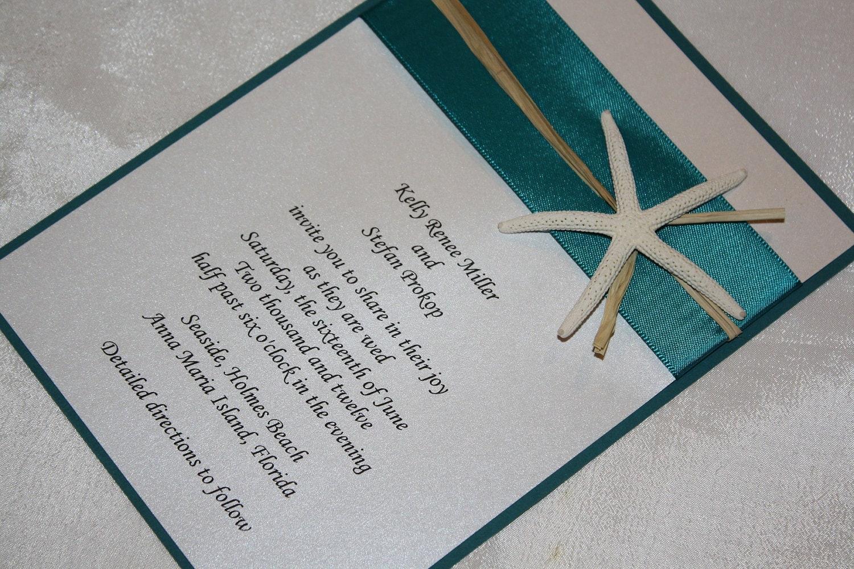 Etsy Beach Wedding Invitations: Teal Green Starfish Beach Wedding By MidnightWineDesigns