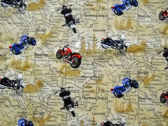 Motorcycle Road Map  Cotton Fabric