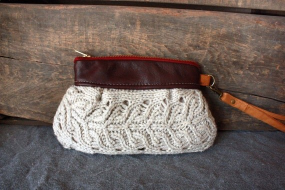 Save 10% w/ code SAVE10--SMALL---Kitt Wristlet/ Pouch/ Makeup bag/ Wallet in Leather and Cable Knit -- Ready to Ship--