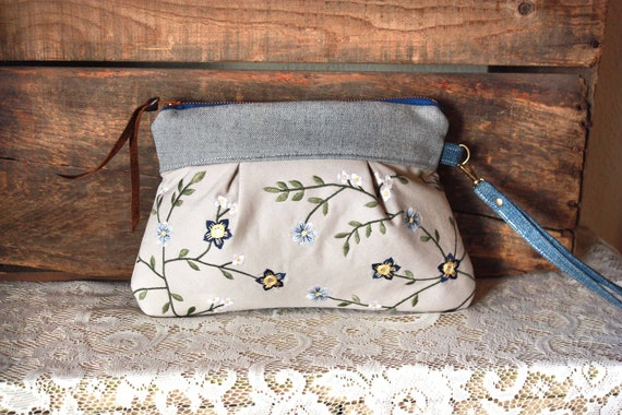 Cotton pleat Wristlet/ Pouch/ Bag Pleated Clutch Upcycled embroidery fabricTan Denim colors/  --READY TO SHIP--