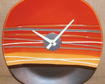 Clock - Wall Clock - Burnt Orange Gold and Brown Stoneware Plate Wall Clock (11 inches) No. 983