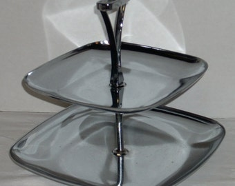 Mid Century Chrome Two Tier Tray