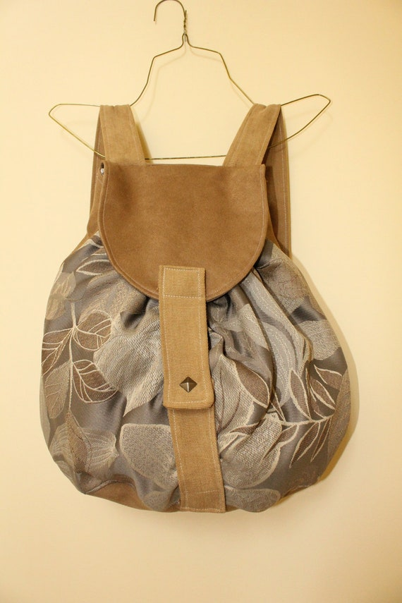 CLEARANCE Fog Hill Backpack, Grey and faux suede, Large Leaf Bag