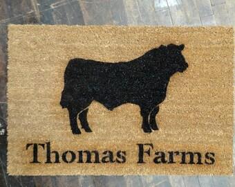 custom name Farm black angus cow doormat entrance rug