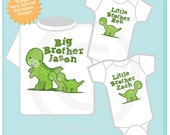 Sibling Dinosaur Shirt Set, Set of Three, Big Brother Shirt, Big Brother, and Twin Baby Brothers,  Personalized Shirt or Onesie (08082012a)