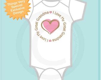 Girl's Personalized I Love My Great Grandma Shirt or Great Grandmother with Pink Heart Tee Shirt or Onesie (11262013a)