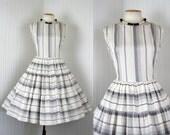 1950s Dress -  Vintage 50s Dress Cotton White Grey Circle Skirt Dance Sundress M - Cloud Castles