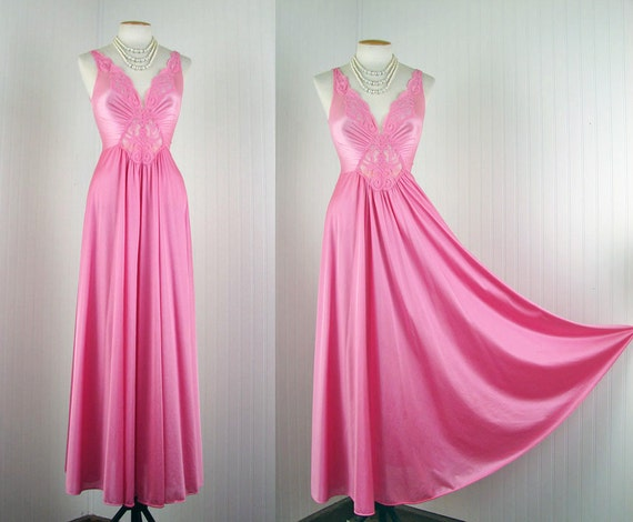 Olga Nightgown - LEGALLY PINK Vintage Designer Hot Pink FormFit Olga Huge Sweep Gown M L