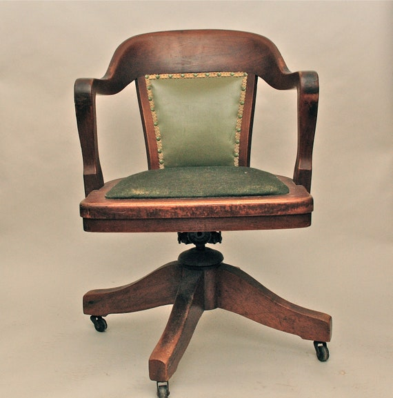Greyhound Shipping Quote >> Vintage Antique Wooden Swivel Bankers or Library Chair