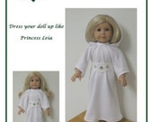 """PDF Pattern Like """"Princess Leia Gown""""   fits American Girl Doll designed by Donna Cotterman"""