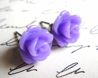 Love Letter, Stud Earrings, Violet Rose Bud, Flower, Surgical Steel Posts, Vintage Inspired, Ruffled Rosebud, Handmade Jewelry by HoneyNest