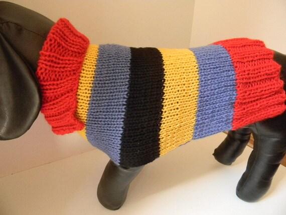 Handknit Dog Sweater 100% Wool Dog Sweater - Medium