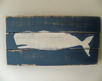Heavily Distressed Whale Beach Art Wall Art Hanging on wood