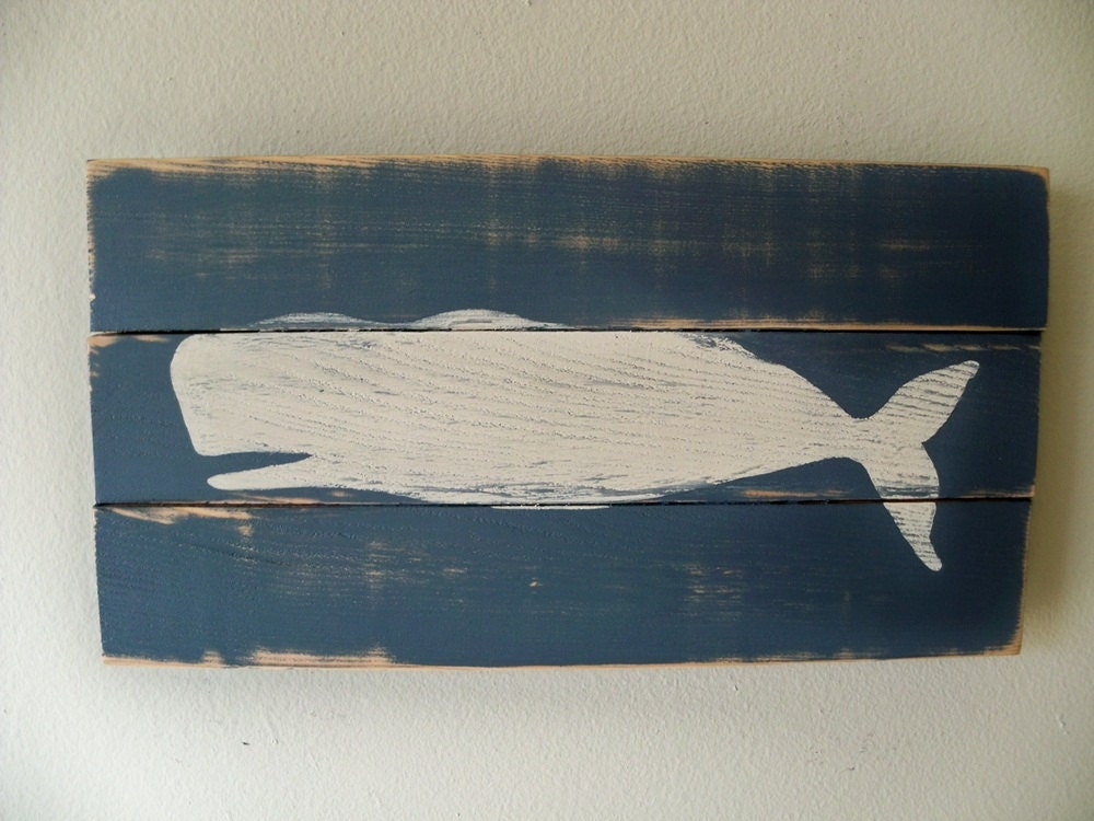 Wooden Beach Wall Decor : Heavily distressed whale beach art wall hanging on wood