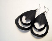 Peacock Earrings Bicycle Innertube Vegan Feathers Recycled Rubber
