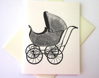 Pram Baby Carriage Note Card Set of 10 in White or Light Ivory with Matching Envelopes