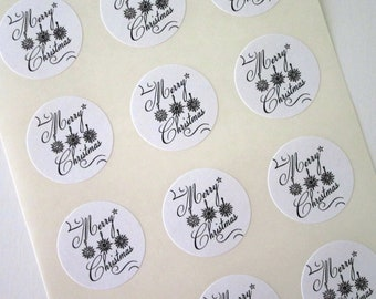 Merry Christmas Snowflake Stickers One Inch Round Seals
