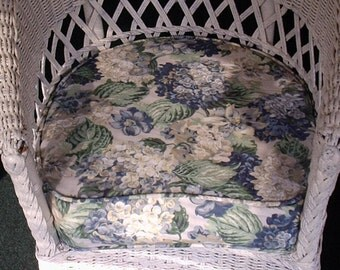 Blue Floral Wicker Chair, Patio Seat Cushion, Custom, use your own fabric,MADE TO ORDER, includes foam, double piping, batting and zipper.