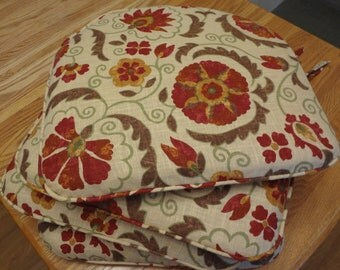 """Stool Seat Cushion Cover, 22"""" x 19"""", Includes zipper, ties, single piping. Your Fabric Selection.Made to Order."""