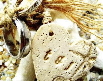 Personalized Wedding Bridal Bouquet Charm Wine Charm Jewelry Text Tile Seashell Starfish Beach Wedding Theme