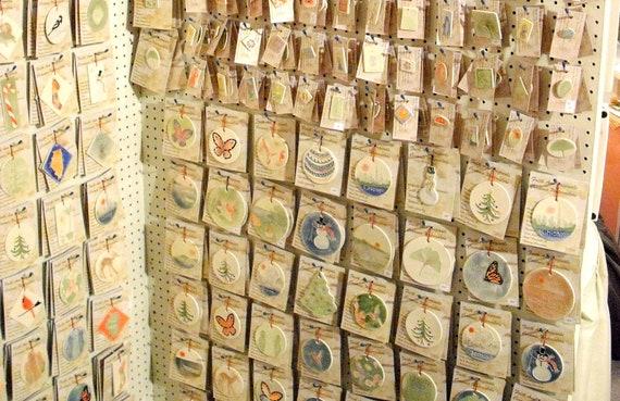MOON AND STAR ceramic pendant-gift tag   handmade ceramic watercolor original design by Wisconsin artist