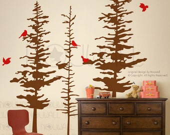 Art Wall Decals Wall Stickers - Pine Trees Decal - pine cone tree wall decal