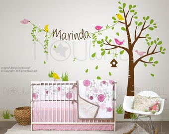 Birdie Tree wall decals with Custom Name on string ,Baby, nursery,Children wall decal Wall Sticker Art