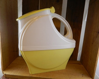 Vintage Yellow and White Burrite Art Deco Style Plastic Pitcher, Los Angeles, CA: Fill It Up