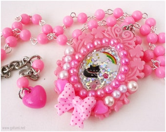 Sparkly Black Cat Resin Cameo Necklace, Beaded Bubblegum Pink Chain, Decoden, Silver Plated - Decora, Sweet Lolita