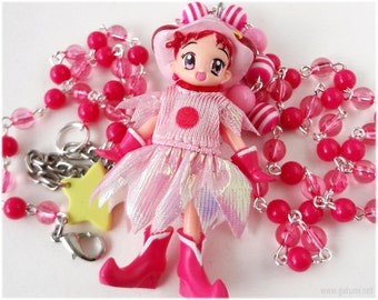 Ojamajo Doremi Necklace, Hot Pink Beaded Rosary Chain, Anime Figure Pendant - Magical Girl