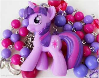 My Little Pony Necklace, Twilight Sparkle Figure Pendant, Beaded Purple and Magenta Chain - Upcycled, MLP