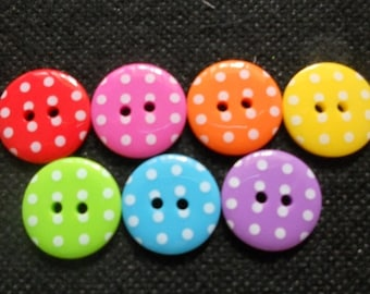 26 pcs Mix rainbow colors retro white dot printed buttons size 18 mm