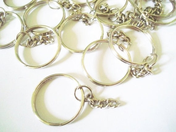 100 pcs - Silver Tone - key ring with chain - key chain findings - size 24 mm