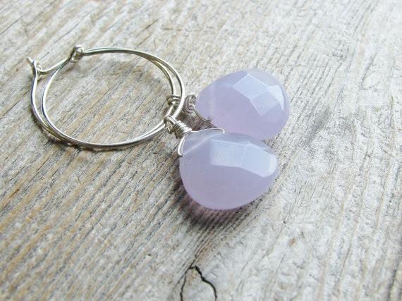 Lavendar Briolette Earrings Glass Briolettes Silver Plated Sleeper Hoops Minimalist Modern Simple