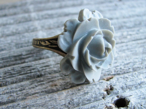 Rose Flower Ring Acrylic Resin Cabochon Cabbage Grey Gray Botanical Jewelry Garden Inspired Jewelry