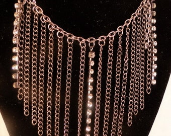 Beautiful Cascading  Chain and Rhinestones Necklace