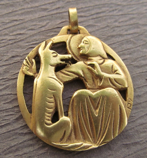 Antique French Saint Francis And The Wolf Fernand Py Gold Plated Religious Medal SS55