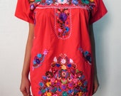 Mexican Red Tunic Dress Floral Embroidered Handmade dresses Medium