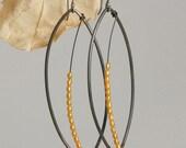 Steel Leaf Dangle Earrings with Golden Pearl Leaf Veins